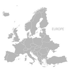 Europe with countries map grey vector