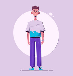 fashionable guy character design cartoon vector image
