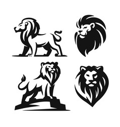 four lion logos black on white background vector image
