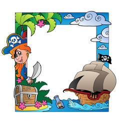 Frame with sea and pirate theme 3 vector