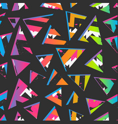 funky geometric triangle pattern with grunge vector image
