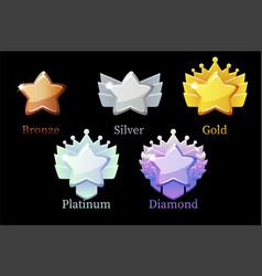 game rank reward star gold silver platinum vector image