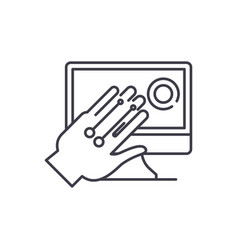 gesture recognition system line icon concept vector image