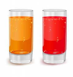 Glasses of fruit juice vector