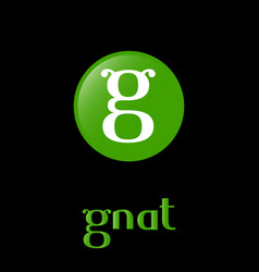 Gnat logo fun letter g insects antennae kids icon vector