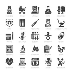Gynecology obstetrics flat glyph icons vector