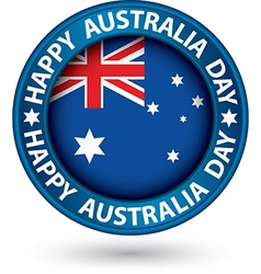 Happy Australia Day blue label vector
