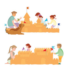 Happy family playing on beach and children vector