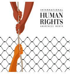 Human rights day card people help concept vector