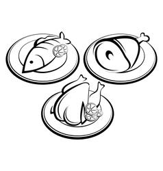 Icons set restaurant vector