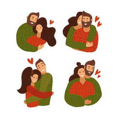 Love couple character hugging set happy lover vector
