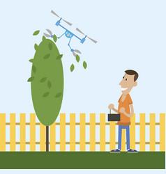 man cuts tree vector image