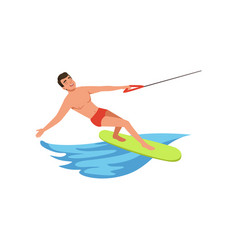 Man riding wakeboard water skiing water sport vector