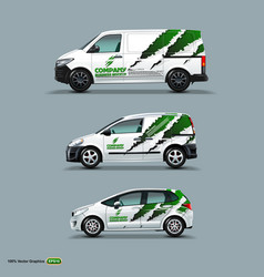 mocup set with advertisement on white car cargo vector image