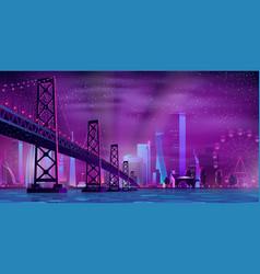 modern night city cartoon urban background vector image
