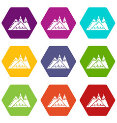 mountains icons set 9 vector image