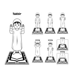 Muslim Prayer Guide Takbir Position Outline vector