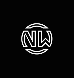 nw logo monogram with negative space circle vector image