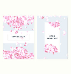 pink hydrangea petals dropping on blue background vector image