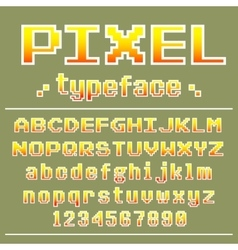 Pixel font 8 bit typeface for retro games design vector