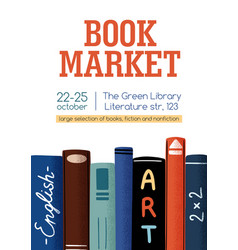 Poster for book market or fair with a place for vector