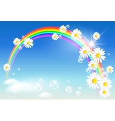 Rainbow daisies vector
