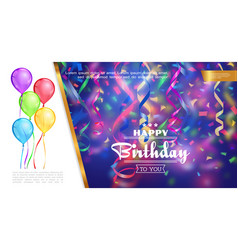 realistic happy birthday template vector image
