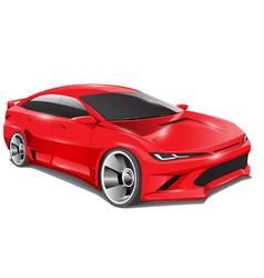realistic red sport car sedan 3d design vector image