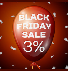 red balloon with black friday sale three percent vector image