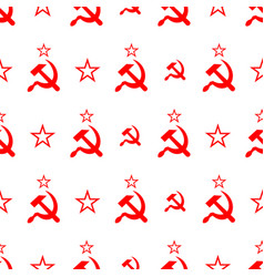 Red soviet sickle and hammer symbol on white vector