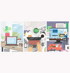 remote work from home office poster vector image