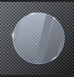 Round glass banner glossy frame template with vector