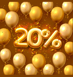 Sale 20 off ballon number on red background vector