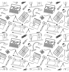 Seamless pattern of sewing tools icons vector