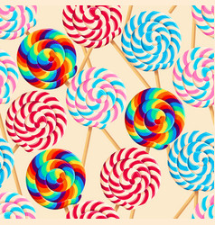 seamless pattern with striped lollipops vector image