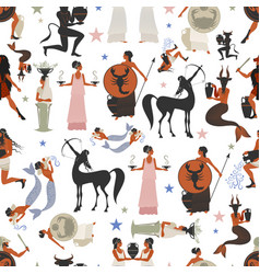 seamless pattern zodiac signs in style of vector image
