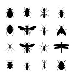 set black silhouettes insects vector image