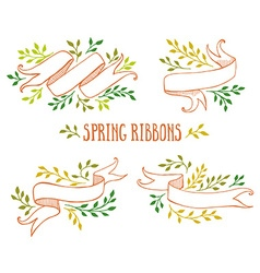 set color spring ribbons with leaves vector image