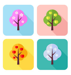 set flat icons with four seasons trees vector image