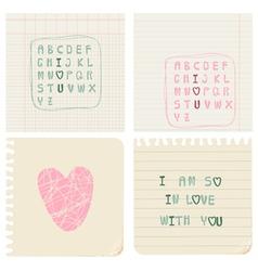 Set hand-written love cards vector