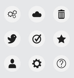 Set of 9 editable network icons includes symbols vector