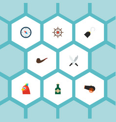 set of piracy icons flat style symbols with hand vector image