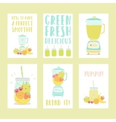 Set of six hand drawn smoothie card templates vector image