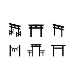 set of torii icon in silhouette style vector image