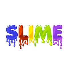 Slime multicolored text on white background vector