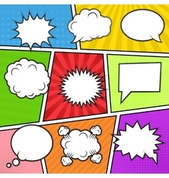Speech bubbles at colorful background vector image