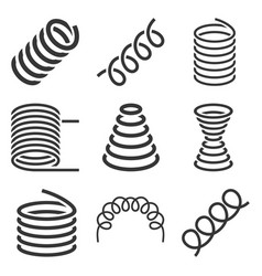 spiral flexible spring icons set on white vector image