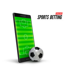 Sport betting online mobile phone with soccer vector