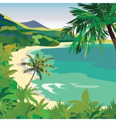 Summer Beach with Tropical Palm trees vector image