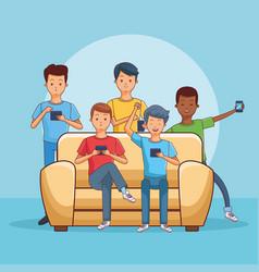 Teenagers using smartphone seated on sofa vector